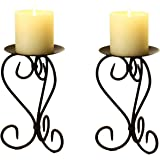 Adeco HD0023 HD0023 Adeco Brown Bronze Iron Table Desk Top Candle Holder, Elegant Scroll Design, Antique Roman Style Base, Holds One Pillar Candle Each (Set of Two),black with antique finish