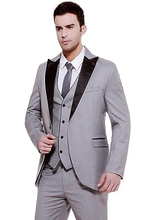 Hanayome Men\'s 3-Piece Suit Blazer Jacket Groom Wedding Tux Vest ...