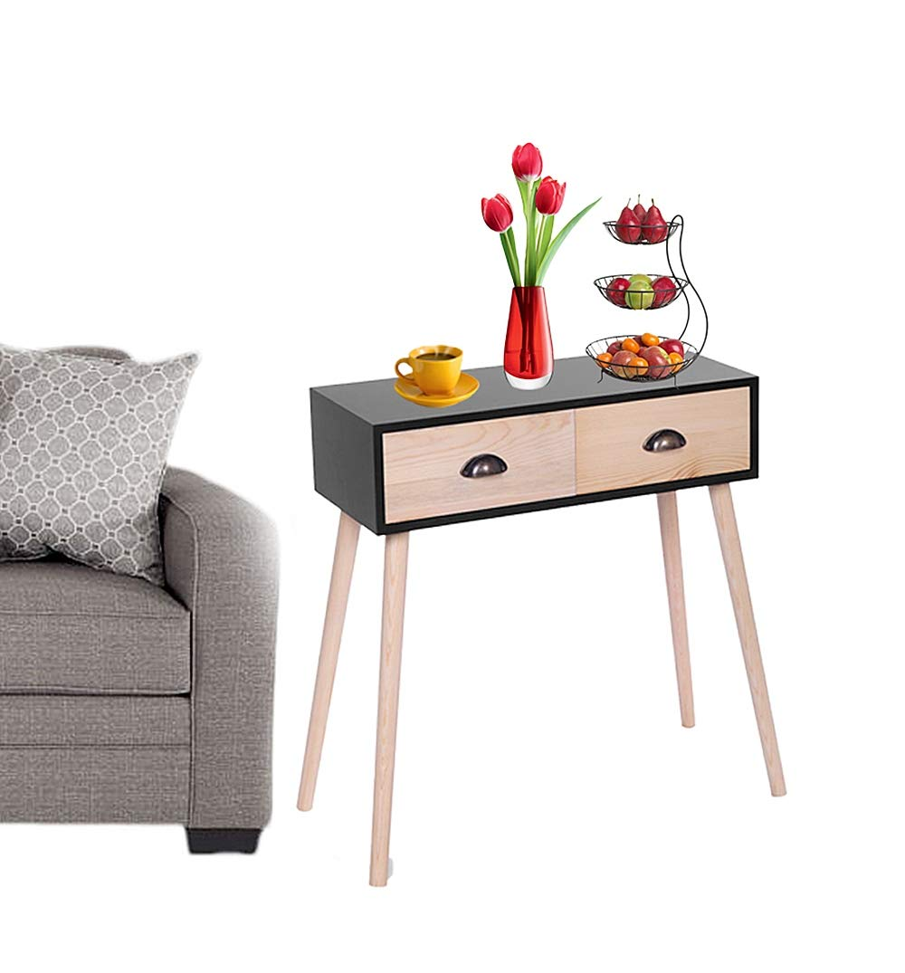 Prettyshop4246 Wooden Side Bed Sofa Table 2 Pullout Drawer Storage High-Grade MDF in Mid Century Style Livingroom Study Room Bedroom Home Office Hotel