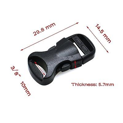 100pcs 3/20,3cm (10mm) Profilé côté Libération Mini boucles pour Paracord Bracelet/Collier de chat Noir