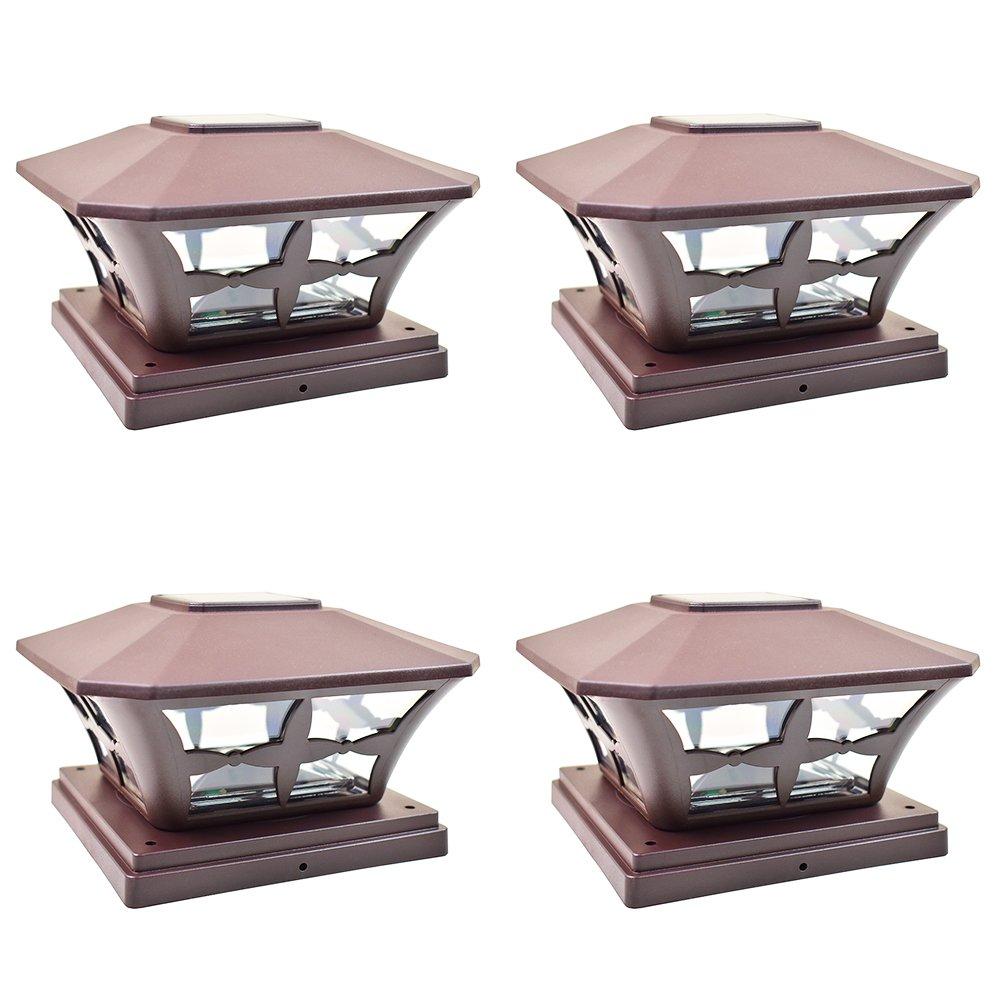 iGlow 4 Pack Brown Outdoor Garden 6 x 6 Solar SMD LED Post Deck Cap Square Fence Light Landscape Lamp PVC Vinyl Wood