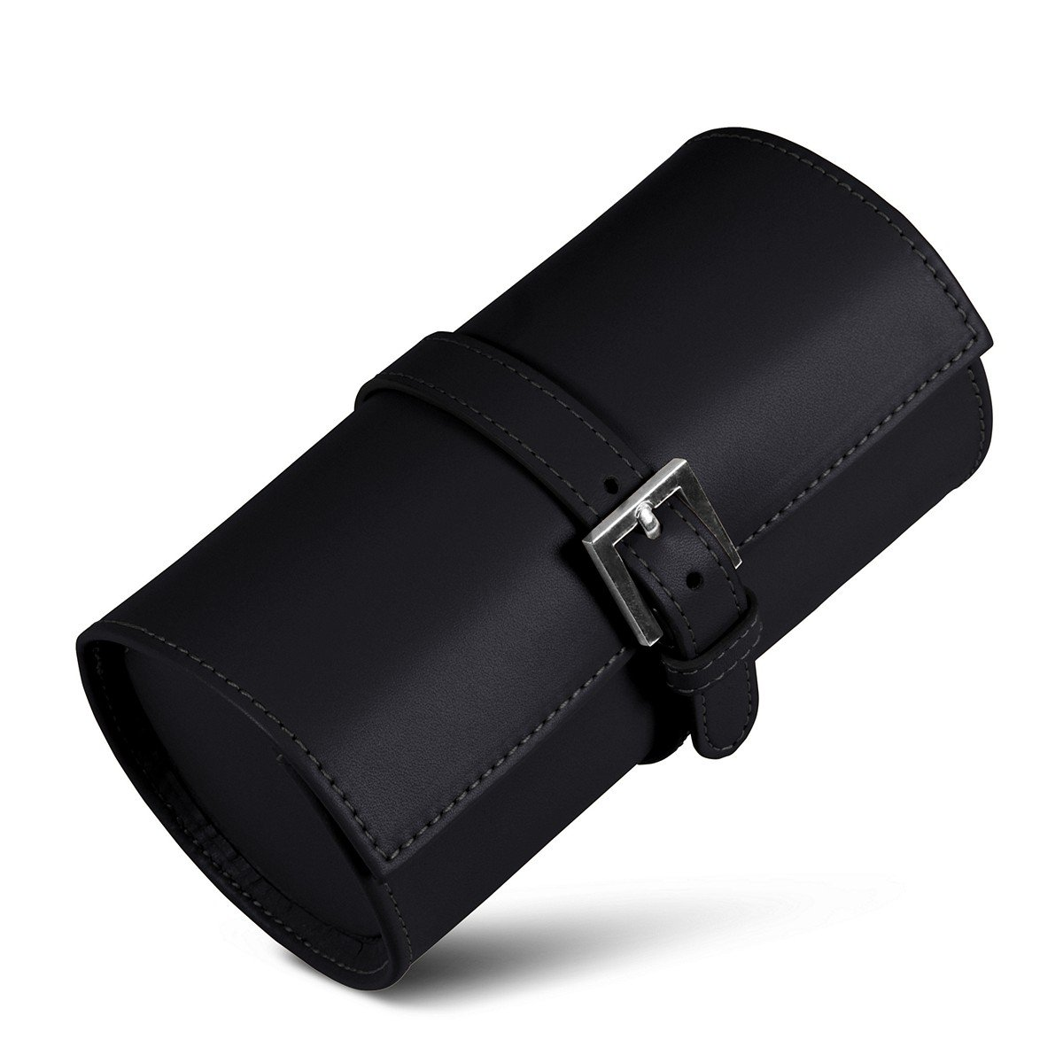 Lucrin - Round watches holder - Black - Smooth Leather