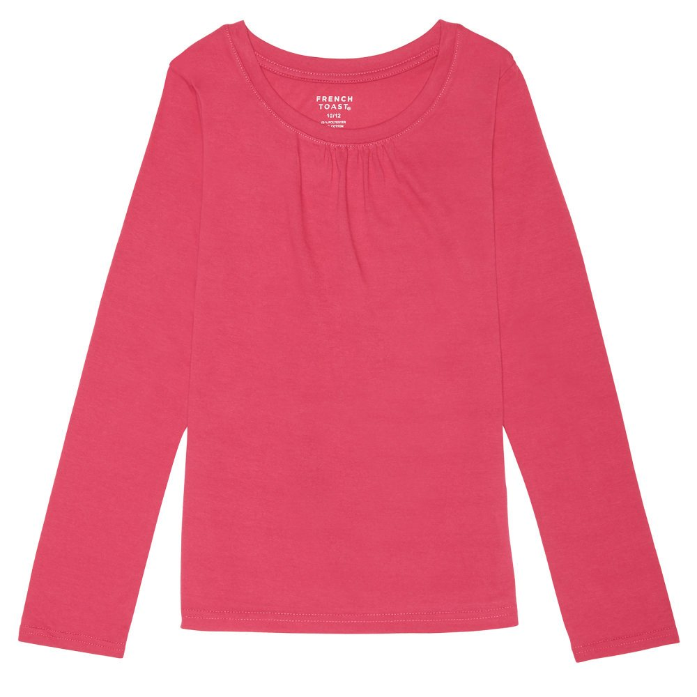 French Toast Little Girls' Long Sleeve Crew Neck Shirt, Fuchsia Pink, 6X