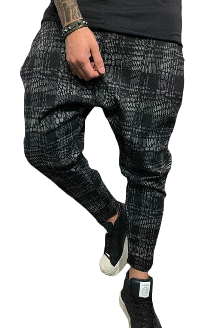 Jofemuho Mens Loose Fit Elastic Waisted Print Casual Active Harem Pants