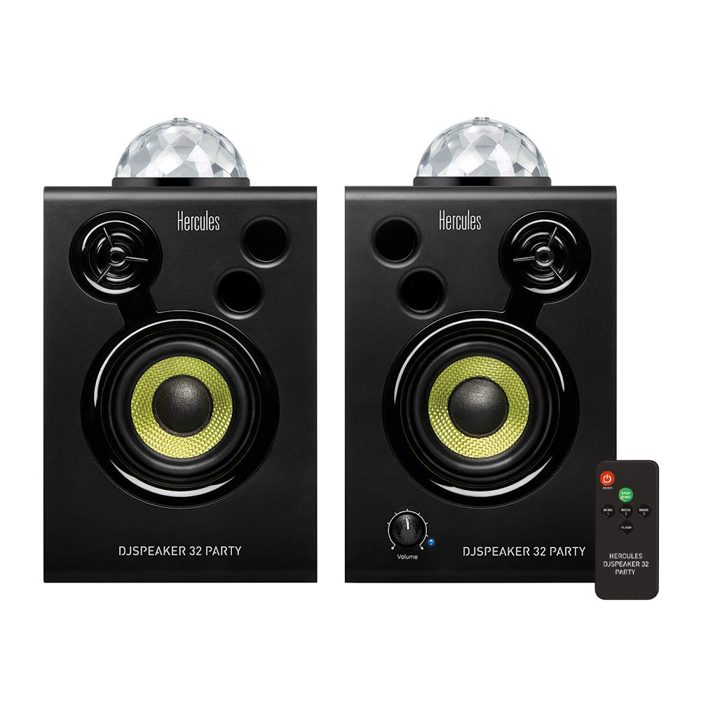 Hercules DJSpeaker 32 Party | 15-Watt RMS monitor speakers with tempo-synced light show