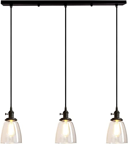 Pathson Industrial 3-Light Pendant Lighting Kitchen Island Hanging Lamp