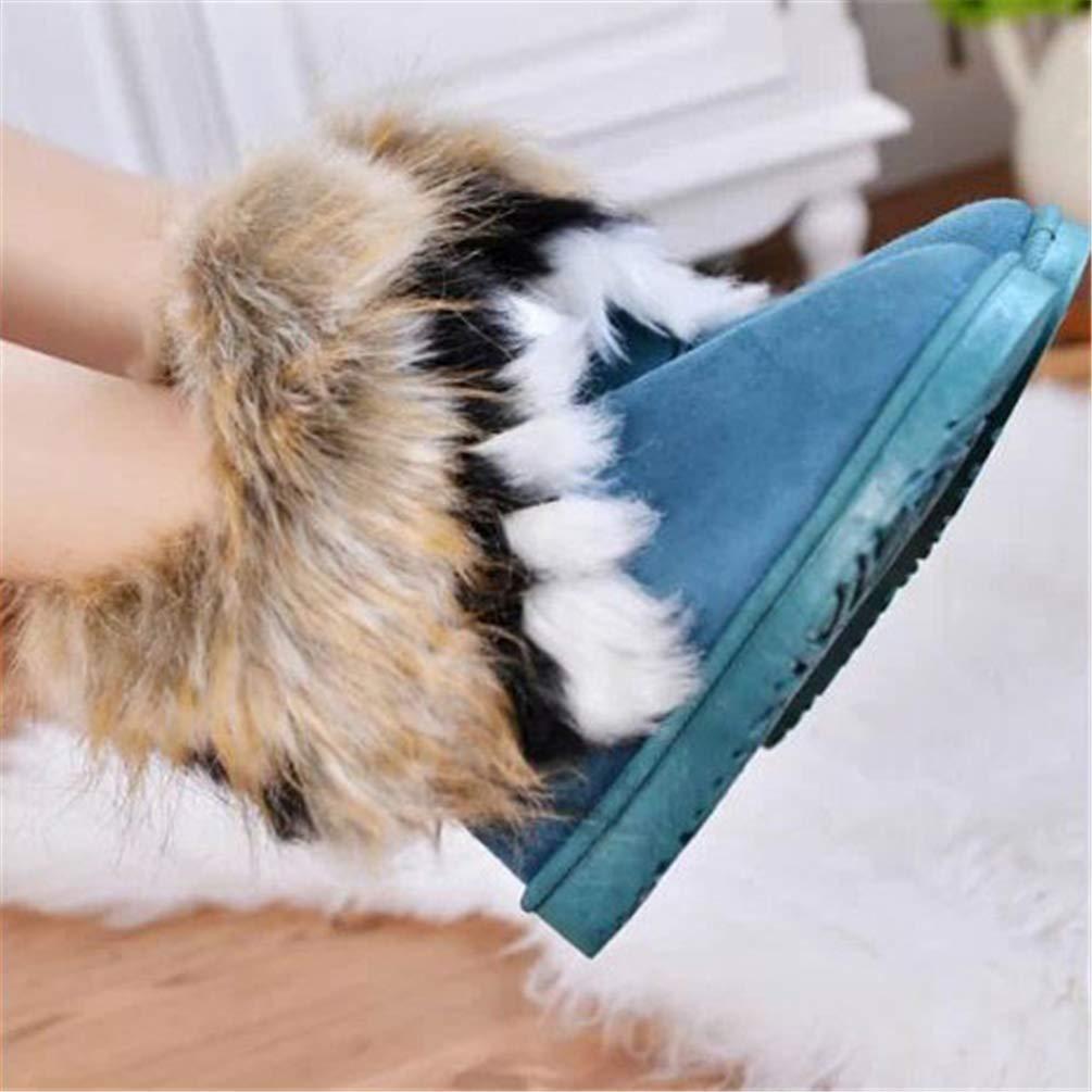 ZHRUI Pelzstiefel Winter Warme Warme Warme Stiefeletten für Frauen Round-Toe Slip On Flock Damenschuhe (Farbe   Blau, Größe   5.5 UK) aefe55