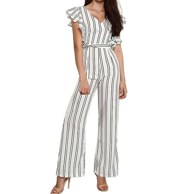 Damen Sommer Jumpsuit Kleid Elegant Lang Streifen Clubwear Playsuit  Bodysuit Party Lange Hose Overall (S adcdc5101e