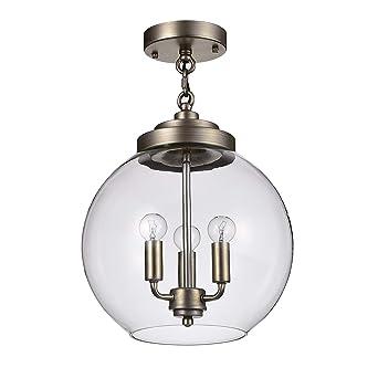 Jojospring Luna Dark Antique Silver 3 Light Clear Glass Globe Iron