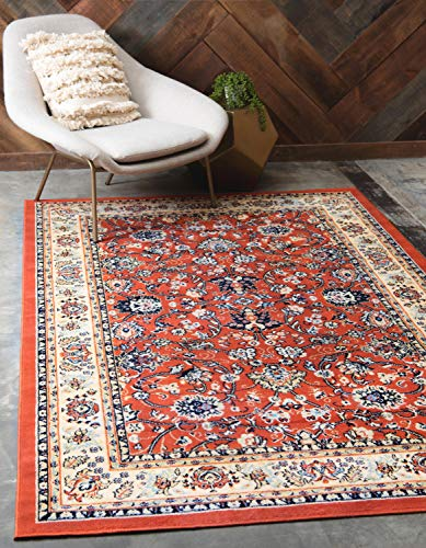 Unique Loom Kashan Collection Traditional Floral Overall Pattern with Border Terracotta Area Rug (7′ x 10′) Review