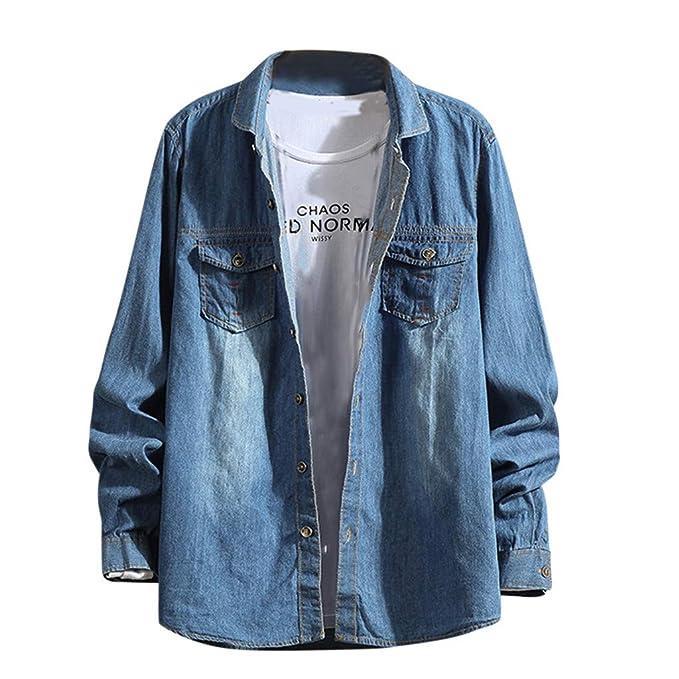 PARVAL Hombre Liquidación Camisa de Mezclilla para Hombre Camisa ...
