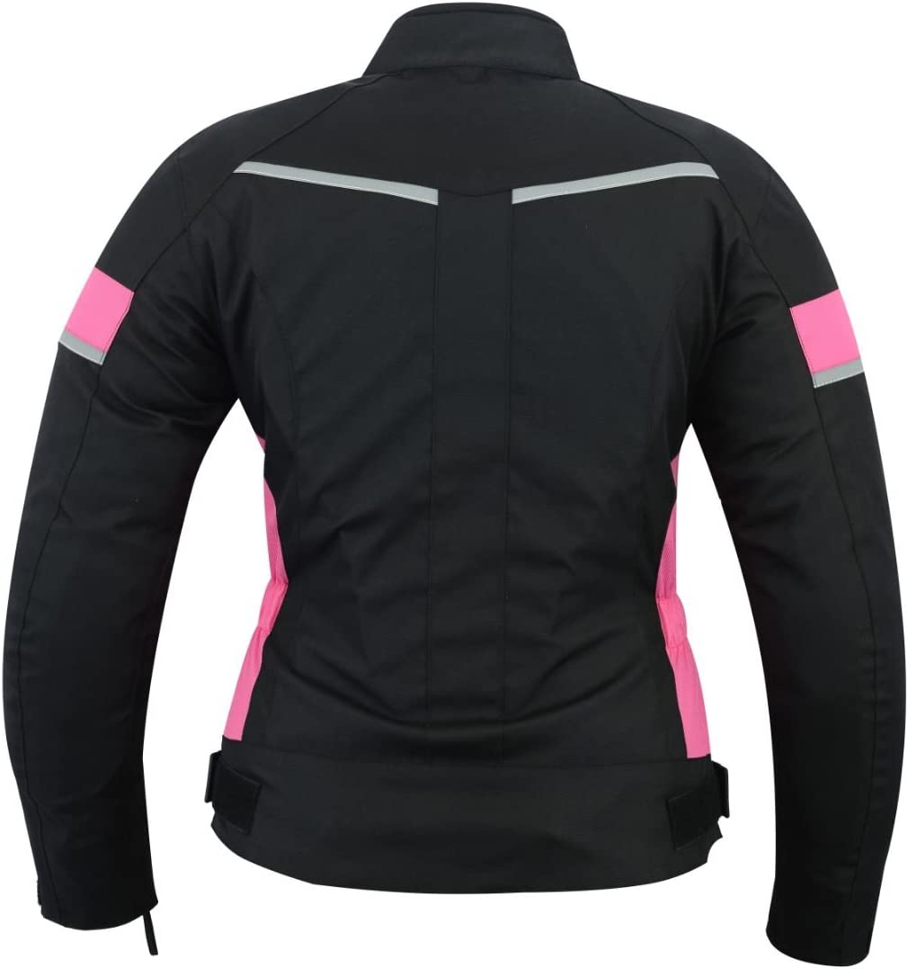 3XL WOMENS MOTORCYCLE ARMORED HIGH PROTECTION WITH ARMOR WATERPROOF ALL WEATHERS JACKET BLACK//PINK WJ-1834P