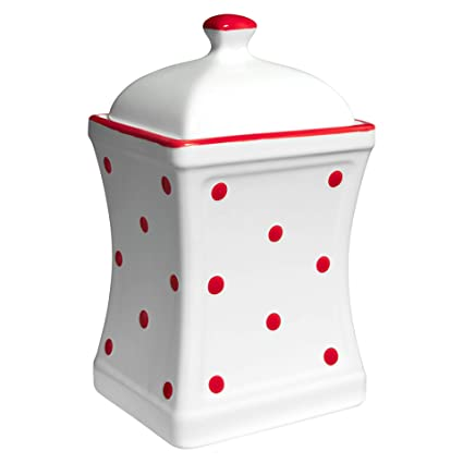 ff5856254618 City to Cottage Handmade White and Red Polka Dot Large Ceramic 31.5oz/900ml  Kitchen