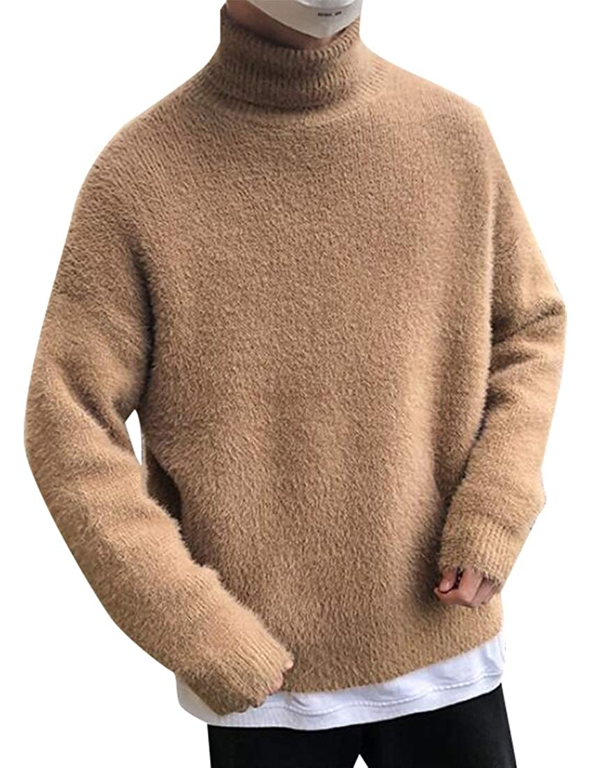hower Mens Fashion Slim Fit Cotton Ribbed Knitted Pullover Turtleneck Sweater