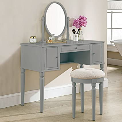 SEESUU Vanity Table Set with Mirror 3 Drawers Makeup Dressing Table with Cushioned Stool Grey & Amazon.com: SEESUU Vanity Table Set with Mirror 3 Drawers Makeup ...