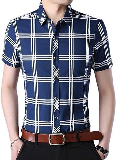 Camisas para Hombre De Verano Camisa A Cuadros Retro De Manga Corta De Moda Casual Camisa De Trabajo del Polo Delgado Negocio Camiseta Básica: Amazon.es: Ropa y accesorios