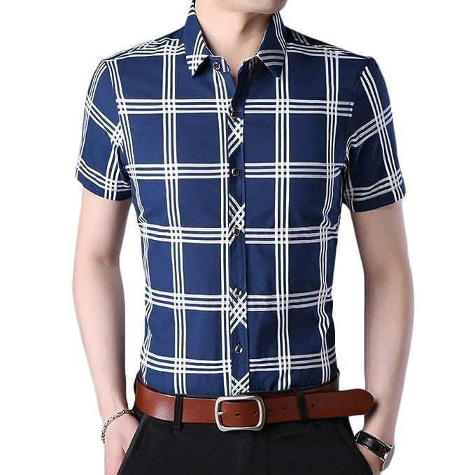 Camisas para Hombre De Verano Manga Cuadros A Camisa De Corta De Joven Moda  Casual Camisa De Trabajo del Polo Delgado Negocio Camiseta Básica   Amazon.es  ... 5951ba063dfe2