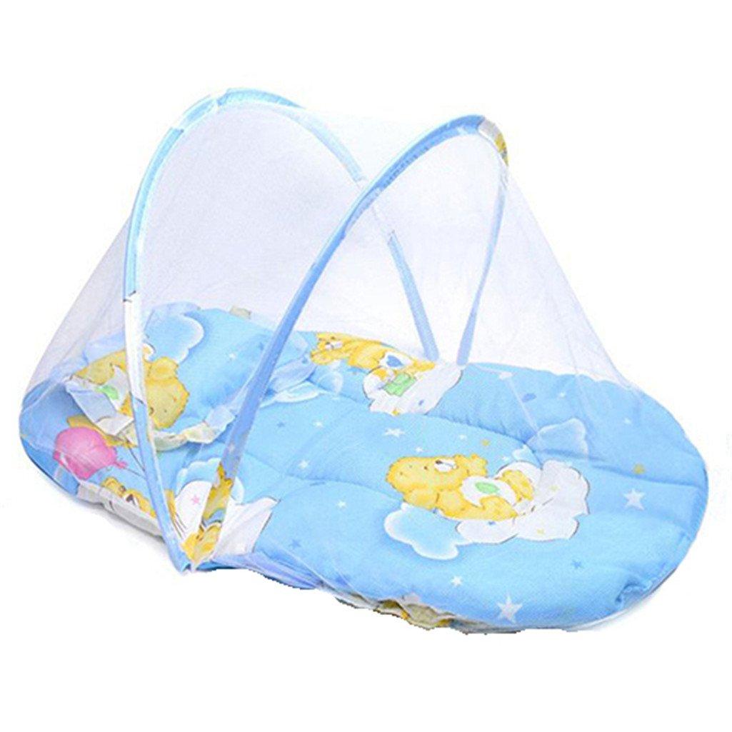 pliable portable pour bébé Moustiquaire de voyage pour bébé Berceau Tente de lit avec taie d'oreiller rose Sukisuki