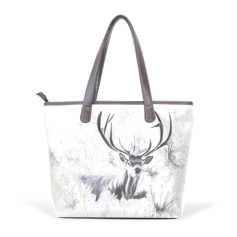 SCDS Red Eye Reindeer PU Leather Lady Handbag Tote Bag Zipper Shoulder Bag