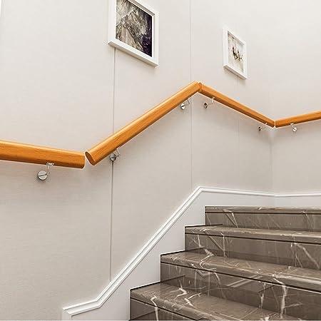 Barandilla para barandilla montada en la pared, soportes de barandilla para escaleras de madera con 2 bases de acero inoxidable, juego de escaleras, barandilla para escaleras, riel seguro lo suficient: Amazon.es: Hogar