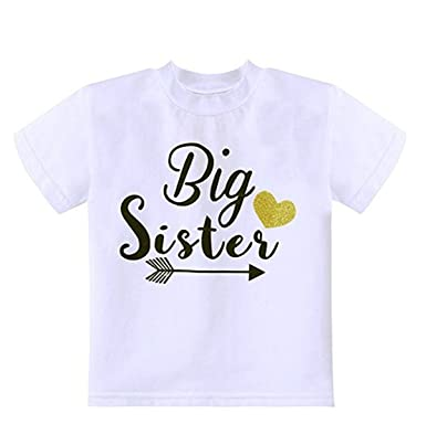 f53e54e11410b FAIRYRAIN Newborn Baby Girls Big Sister T Shirt Matching Little ...