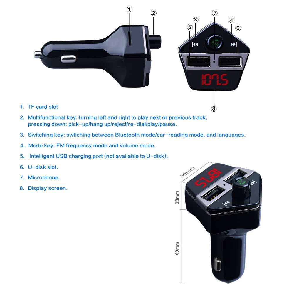 GPS Tracker for Vehicles, Colisivan Car Finder Bluetooth FM Transmitter for Car Kit Vehicle Tracking Device Car Radio Receiver with 4.2A Dual USB Quick Car Charger by Colisivan (Image #2)