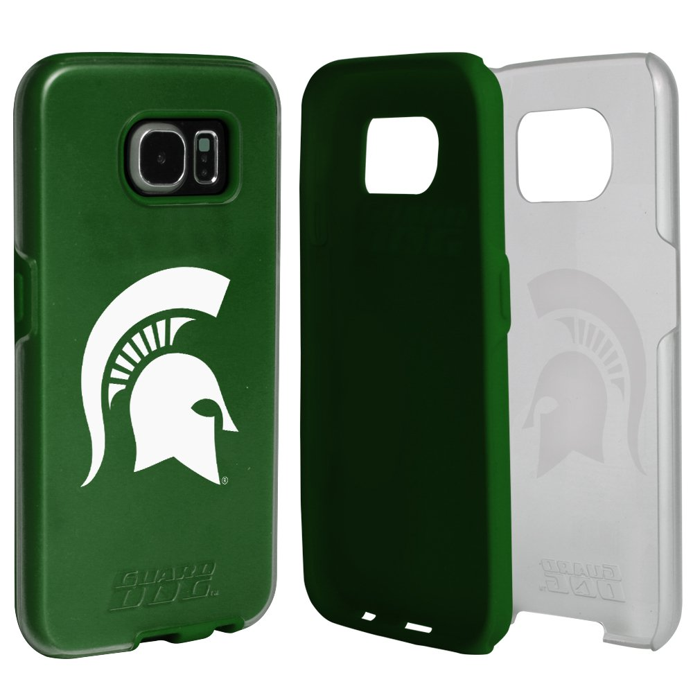 Michigan State Spartans Clear Hybrid Case for Samsung Galaxy S7 with Green Insert and Guard Glass Screen Protector