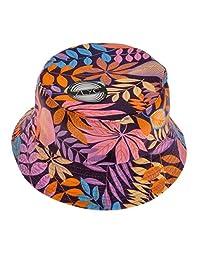 ZLYC Women Funky Floral Plant Rainforest Print Canvas Bucket Hat Fishmen Cap, Purple