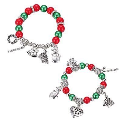 Christmas Jewelry.Iwensheng Christmas Charm Bracelet Set Kids Holiday Festive Jewelry Set For Baby Girls Children Cute Holiday Fun Christmas Santa Claus Stocking