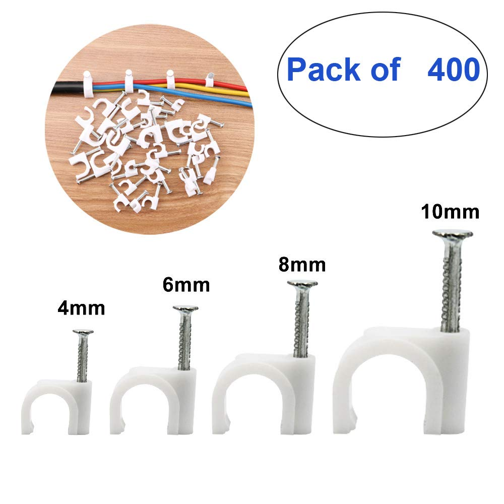 TOOHUI 400Pcs Round Cable-Clip, Circle Wire Clips, Electrical Wire Cord Clamps, Cable Wire Management with Steel Nail, Cable Wholesales for Car, Office and Home, RG4 RG6 RG8 RG10, White