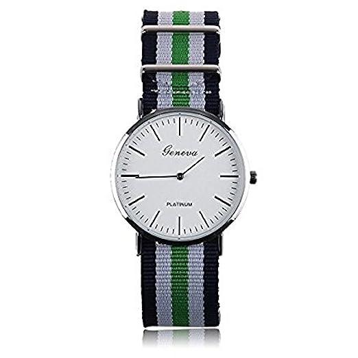 d58c970b4e15 Reloj correa de nylon rayas verde azul  Amazon.es  Relojes
