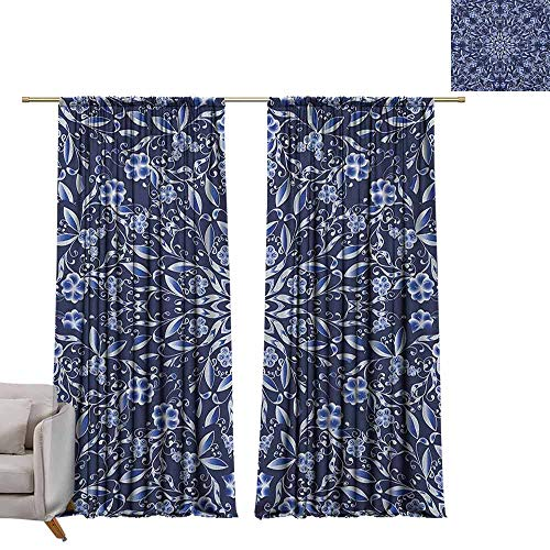 (berrly Blackout Curtain Panels Dark Blue,Chinese Painting Style Artwork Traditional Floral Interlace Print, Dark Blue Royal Blue White W72 x L96 Art Grommet Window)
