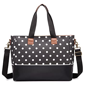 72dd402a145c7 Amazon.com   Miss Lulu Baby Diapper Nappy Changing Handbags Polka Dot Mummy Baby  Backpack Tote Cross Body Bags One Size Black   Baby