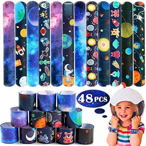Lorfancy 48 Pcs Space Slap Bracelets Space ToysPlanet Design Kids Bracelets Snap Bands Class Prize Outer Space Party Decorations Favors