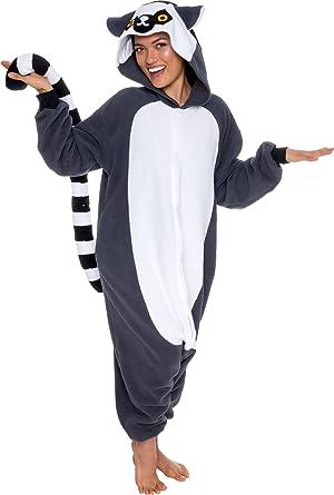 aad992eaba1e Silver Lilly Unisex Adult Pajamas - Plush One Piece Cosplay Lemur Animal  Costume (Gray