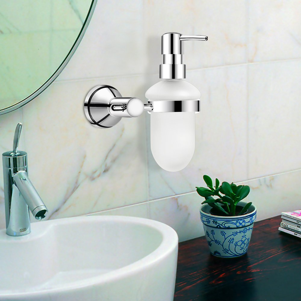 Dreamsbaku Wall Mounted Kicht Bathroom Soap Dispenser glass Bottle with Pump Head Cooper chrom