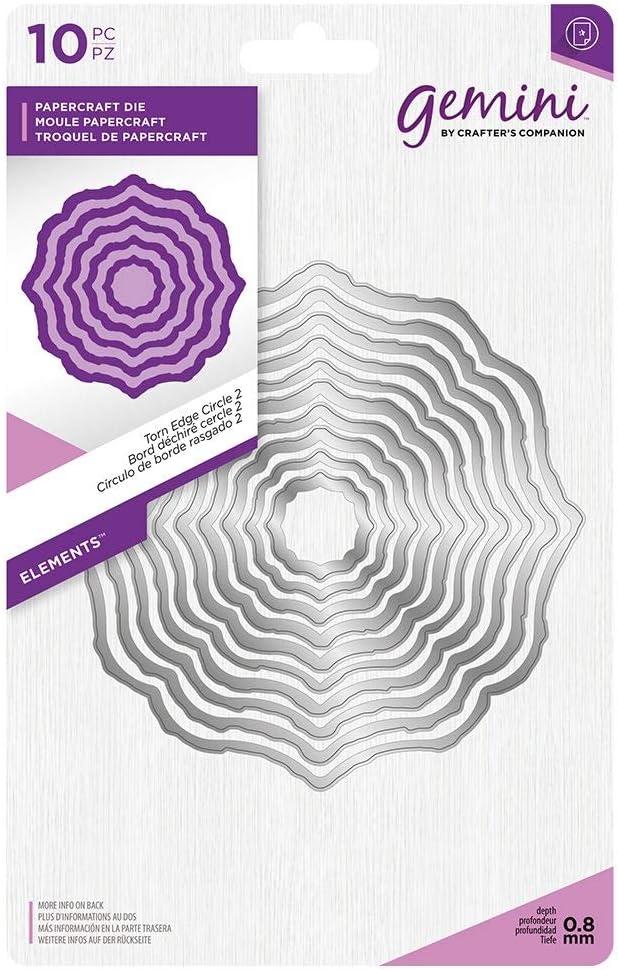 Gemini GEM-MD-ELE-TECI2 Die-Elements-Torn Edge Circle 2 Silver us:one size