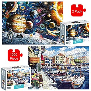 Aibrisk 2 Pack Jigsaw Puzzles 1000 Pieces for Adults Kids, Space Venice Puzzle Educational Intellectual Decompressing Fun Family Game, Difficult and Challenge, Christmas Birthday Gift