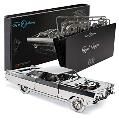 Model Car Kit - 3d model kit Royal Voyager - Moving Wind-Up Retro Car Model | 3d Puzzle for Adults - Metal DIY Kit | Beautiful Metal Model Car Collectible | DIY Construction Set of a Vintage Car: Toys & Games