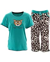 Lazy One Womens Blue Cheetah Pajamas Fast Asleep