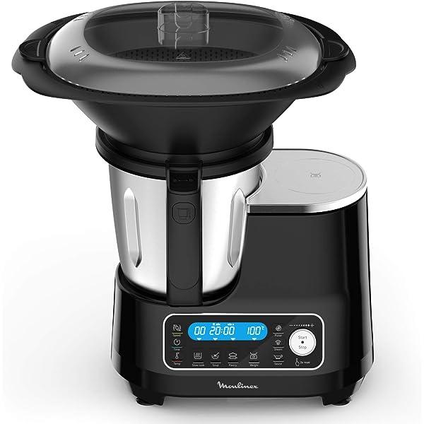Moulinex ClickChef HF456810 - Robot de cocina multifunción con 5 programas automáticos, robot de cocina compacto 25 funciones, báscula de cocina integrada, cocción al vapor, mezclador 3.6 l, 1400 W: Amazon.es: Hogar