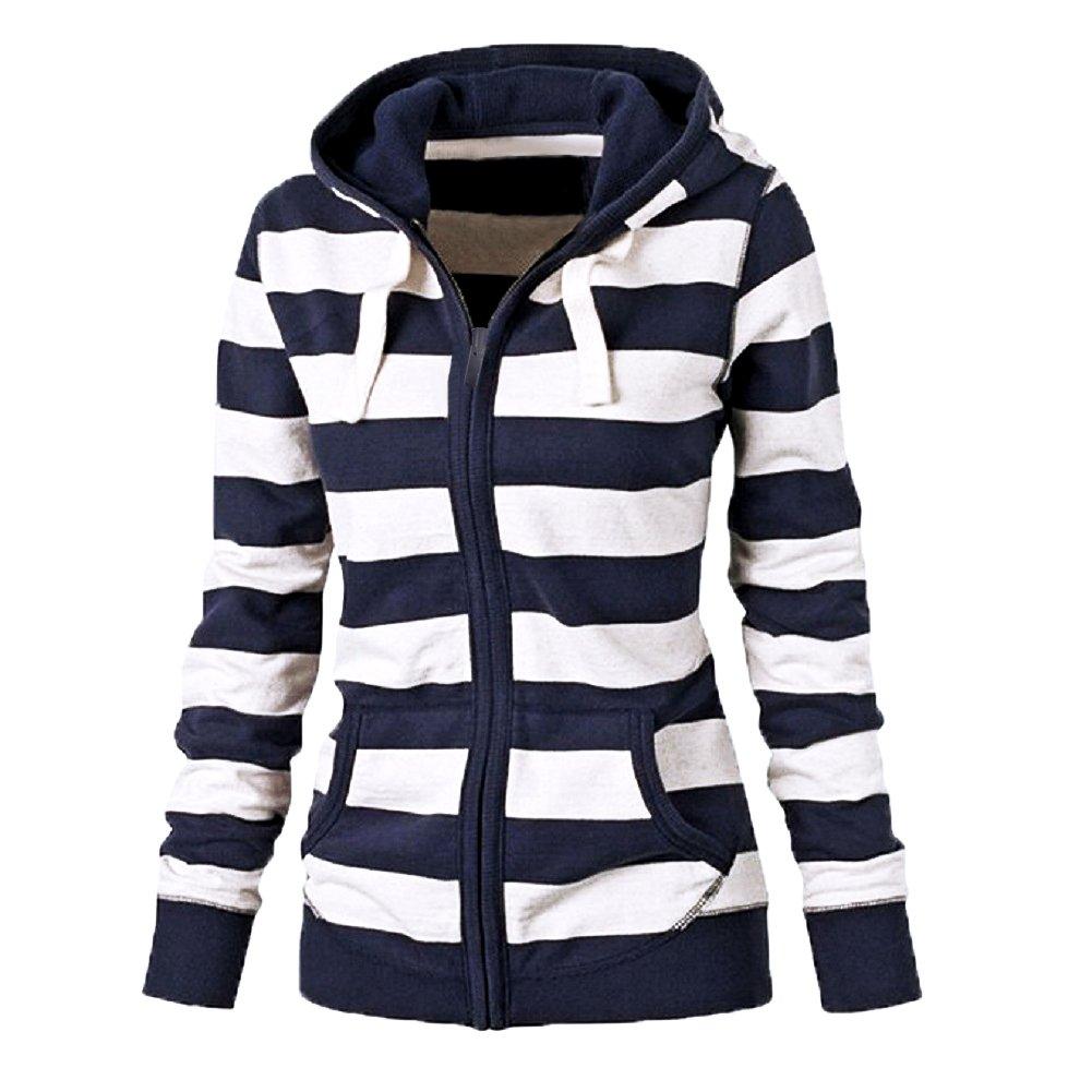 DOKER Women Fashion Long Sleeve Striped Hoodis Tops Zipper Hooded Sweatshirt DC1230007
