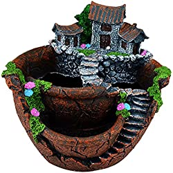 DIY Container Pot Mini Fairy Garden Flower Plants and Sweet House for Decoration, Holiday Decoration, Indoor Decoration and Gift (Brown)