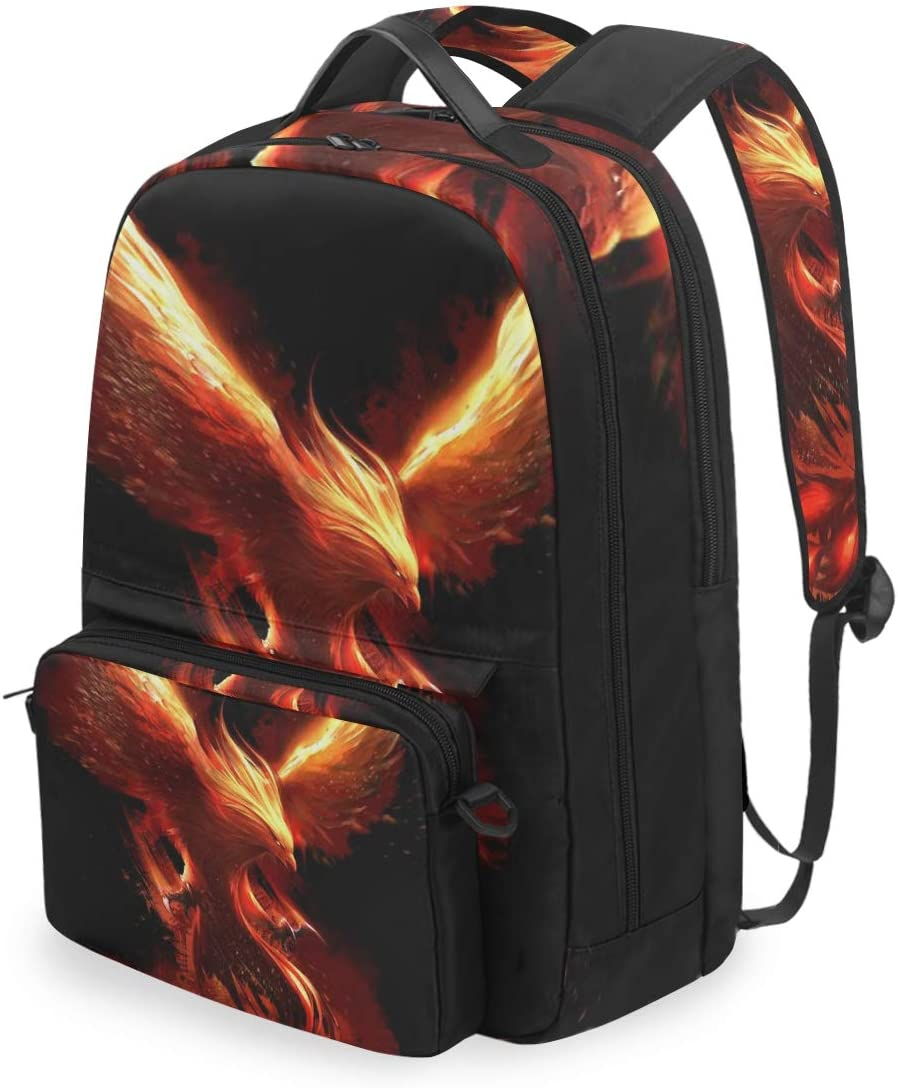 BIGJOKE Backpack Detachable Red Burning Phoenix Birds Laptop College Student School Shoulder Computer Bags Backpacks Crossbody Bag Travel Daypack Business Bag for Women Girls Men Boy Kids