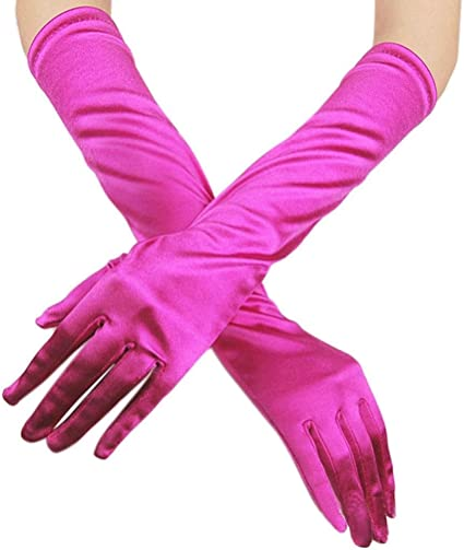 Ladies LONG SATIN GLOVES Opera Costume Bridal Party Prom Wedding Womens Gloves