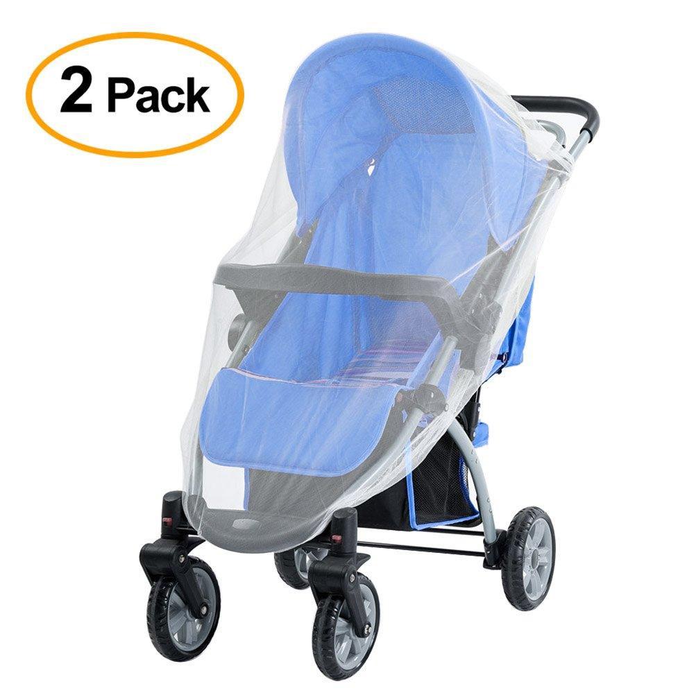 FEPITO 2 Pack Baby Infant Mosquito Bug Net White Elastic Stretches Insect Net for Most Baby Strollers Prams Bassinets Pushchairs Carriers Buggies Carriages Cribs Travel Cots Car Seats Cradles Full Cover Mosquito Net