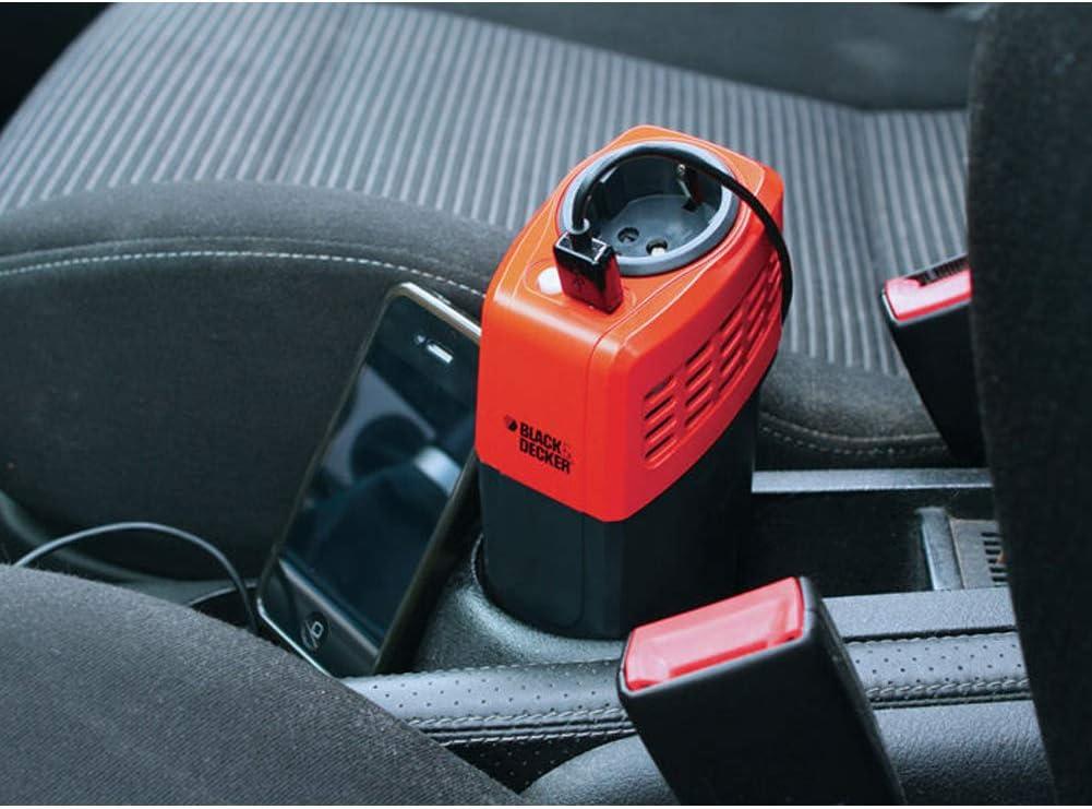 Black /& Decker Inverter 100W Auto Trasformatore Convertitore Energia Elettrica da 12V a 220V per Camper Barca con Presa USB per Ricarica Smartphone