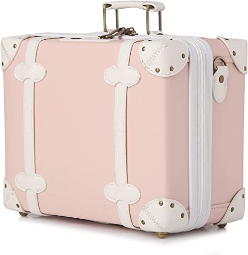 urecity Cute Vintage Carry on Mini Trunk Suitcase with Leather Strips and Shoulder Strap Pink