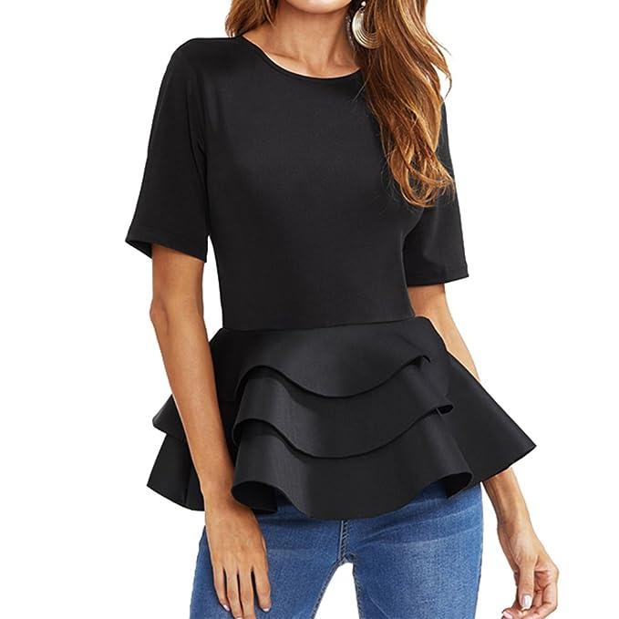 Juleya Moda Camiseta Para Mujer Manga Dobladillo con Volantes Patchwork Blusa Elegante Color Sólido Cuello Redondo Manga Corta T-Shirt Casual Camisa Verano ...