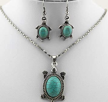 Turquoise Turtle Necklace and Earrings Set